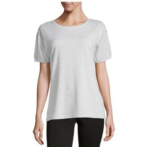 NEW Gray Pearl Trend Short Sleeve Top